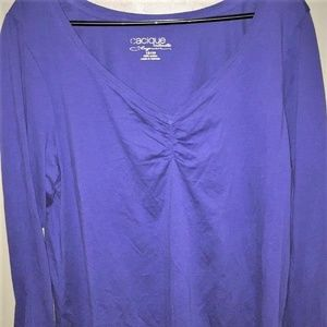 2X 3X 4X CACIQUE PURPLE LONG S LEEVE PAJAMA TOP